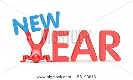 New year metaphor. 3D man standing on his head keeps word on his feet. 3d illustration