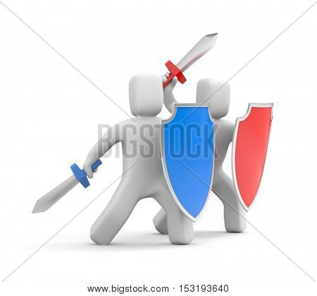 Collective security, protection and attack! 3d illustration