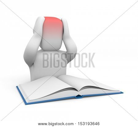 3D human with a headache from homework or reading. 3d illustration