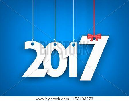 White word 2017 on blue background. New year illustration. 3d illustration