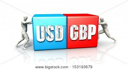 USD GBP Currency Pair Fighting in Blue Red and White Background 3D Illustration Render