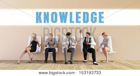 Business Knowledge Being Discussed in a Group Meeting 3D Illustration Render