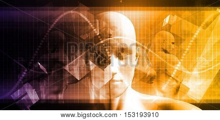 Medical Science with Face of a Man Being Scanned 3D Illustration Render