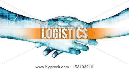 Logistics Concept with Businessmen Handshake on White Background 3D Illustration Render