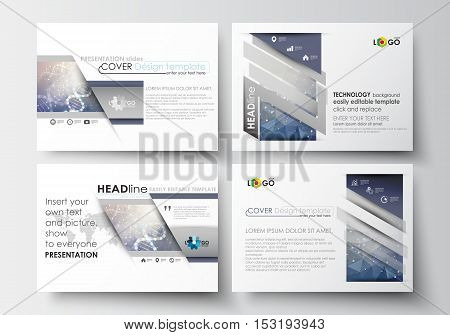 Set of business templates for presentation slides. Easy editable abstract layouts in flat design. DNA molecule structure on blue background. Scientific research, medical technology.