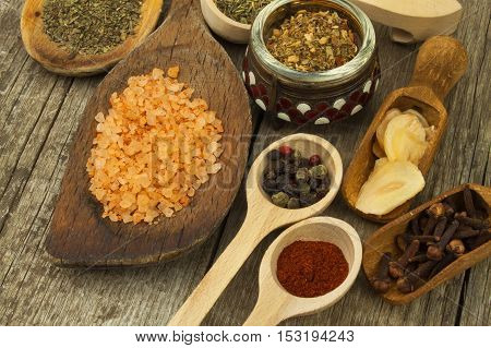 Spice in Wooden spoon. Herbs. Cinnamon and other on a wooden rustic background. Pepper. Large collection of different spices and herbs. Salt, paprika. Sale of spices.