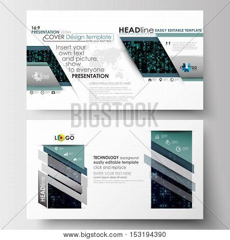 Business templates in HD size for presentation slides. Easy editable layouts in flat design. Virtual reality, color code streams glowing on screen, abstract technology background with symbols.
