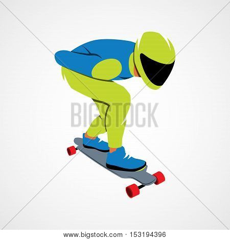 Skateboarder longboarding downhill on a white background. Vector illustration.