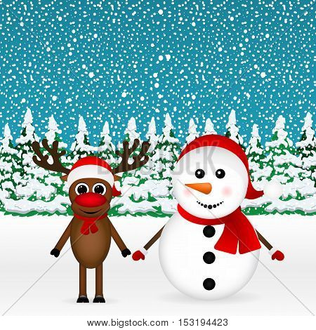 Snowman with reindeer and a snowman standing in the forest, vector illustration