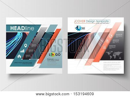Business templates for square design brochure, magazine, flyer, booklet or annual report. Leaflet cover, abstract flat layout, easy editable blank. Abstract lines background with color glowing neon streams, motion design vector.