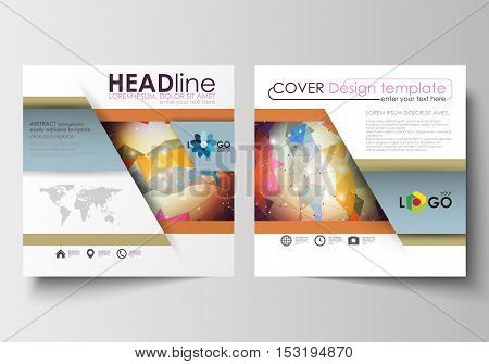 Business templates for square design brochure, magazine, flyer, booklet or annual report. Leaflet cover, abstract flat layout, easy editable blank. Abstract colorful triangle design vector background with polygonal molecules.