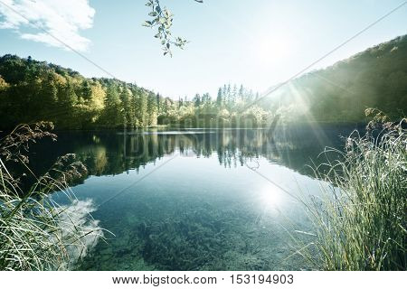 lake in forest, Croatia, Plitvice
