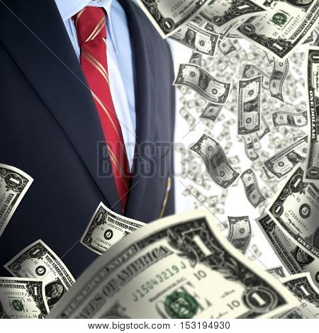 an image of one dollar bills and businessman