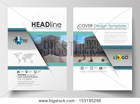Business templates for brochure, magazine, flyer, booklet or annual report. Cover design template, easy editable blank, abstract flat layout in A4 size. Abstract business background, blurred image, urban landscape, modern stylish vector.