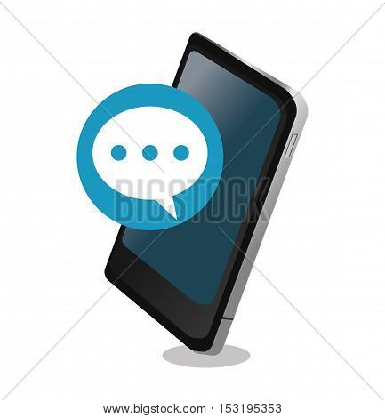 Smartphone and bubble icon. Social media marketing communication theme. Colorful design. Vector illustration
