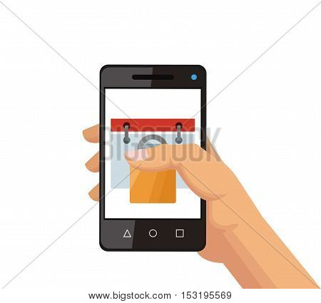Smartphone and calendar icon. Social media marketing communication theme. Colorful design. Vector illustration