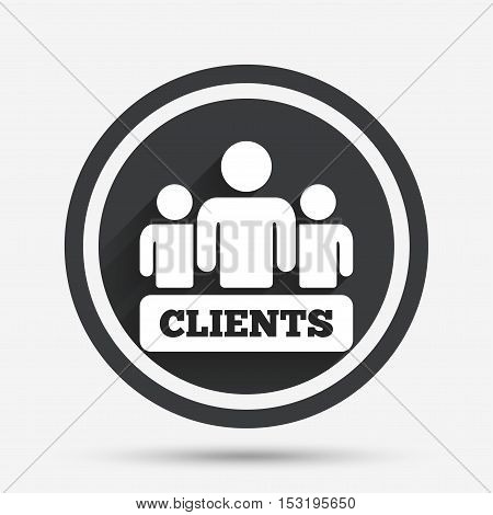 Clients sign icon. Group of people symbol. Circle flat button with shadow and border. Vector