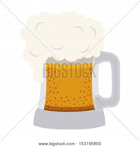 beer mug with foam. liquor drink icon over white background. vector illustration