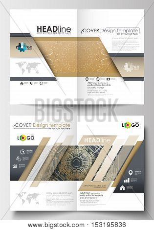 Business templates for brochure, magazine, flyer, booklet or annual report. Cover design template, easy editable blank, abstract flat layout in A4 size. Golden technology background, connection structure with connecting dots and lines, science vector.