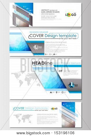 Social media and email headers set, modern banners. Business templates. Cover design template, easy editable, abstract flat layout in popular sizes. Abstract triangles, blue triangular background, modern colorful polygonal vector.