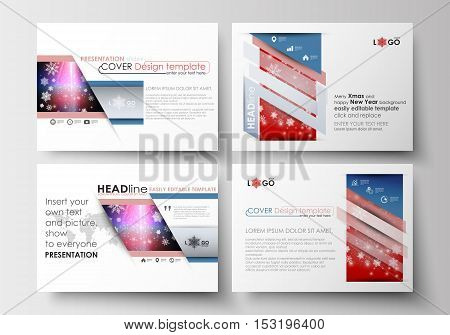 Set of business templates for presentation slides. Easy editable abstract layouts in flat design. Christmas decoration, vector background with shiny snowflakes.
