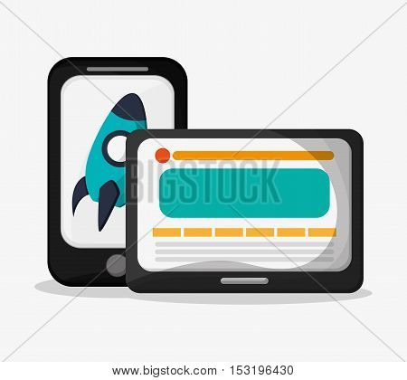 Smartphone tablet and rocket icon. Social media marketing and communication theme. Colorful design. Vector illustration