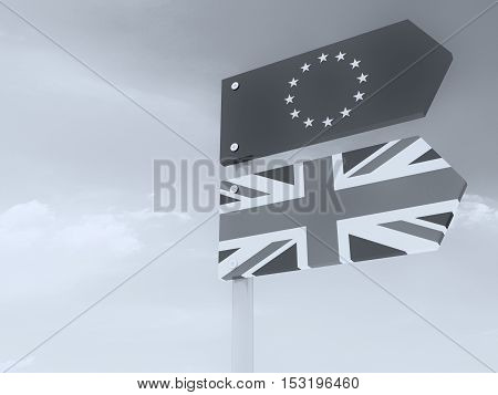 Former Partnership: UK And EU Road Sign Against A Cloudy Sky Pointing In The Same Direction 3d illustration