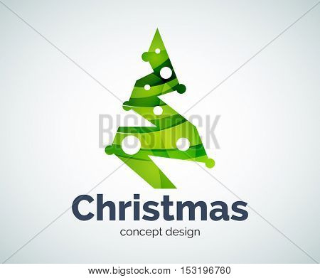 Christmas tree logo template, abstract business icon