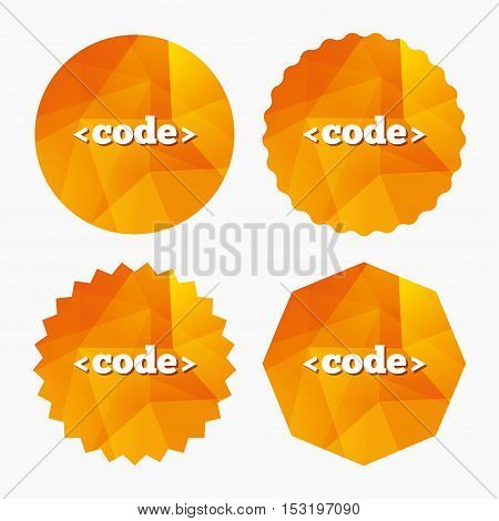 Code sign icon. Programming language symbol. Triangular low poly buttons with flat icon. Vector