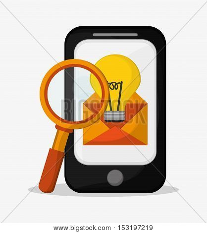 Smartphone lupe bulb and envelope icon. Social media marketing and communication theme. Colorful design. Vector illustration
