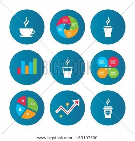 Business pie chart. Growth curve. Presentation buttons. Coffee cup icon. Hot drinks glasses symbols. Take away or take-out tea beverage signs. Data analysis. Vector