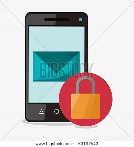 Smartphone padlock and envelope icon. Social media marketing and communication theme. Colorful design. Vector illustration