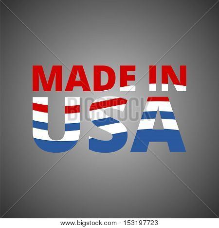 American (USA) Made text design with the American flag icon
