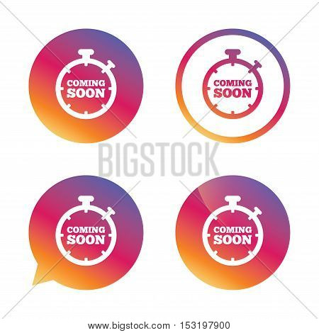 Coming soon sign icon. Promotion announcement symbol. Gradient buttons with flat icon. Speech bubble sign. Vector