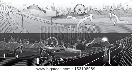 Highway in mountains, construction and infrastructure panorama, billboards on road, city on skyline, towers and skyscrapers, urban scene, light and dark lines, vector design art