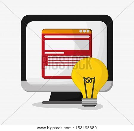 Computer and bulb icon. Social media marketing and communication theme. Colorful design. Vector illustration