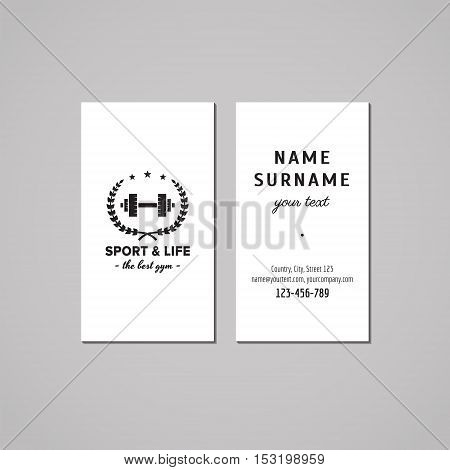 Sport & fitness vintage business card design concept. Logo with barbell and wreath. Vintage hipster and retro style.