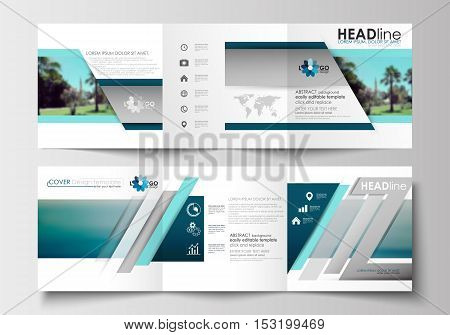 Set of business templates for tri-fold brochures. Square design. Leaflet cover, abstract flat style travel decoration layout, easy editable vector template, colorful blurred natural landscape