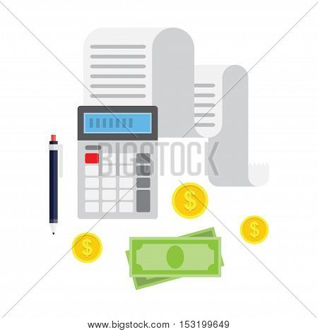 Concept of tax payment and invoice. Tax bills cash money coins calculator pencil. Vector illustration