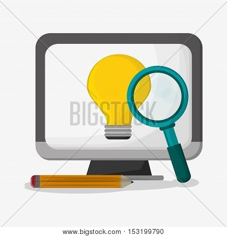 Computer lupe pencil and bulb icon. Social media marketing and communication theme. Colorful design. Vector illustration