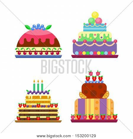 Cakes for birthday isolated cake vector. Wedding or birthday cake sweet dessert