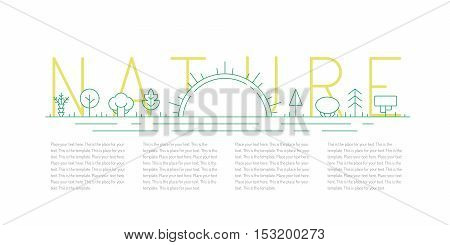 Trees and sunrise outline green vector illustration. Clean and simple design. Part one.
