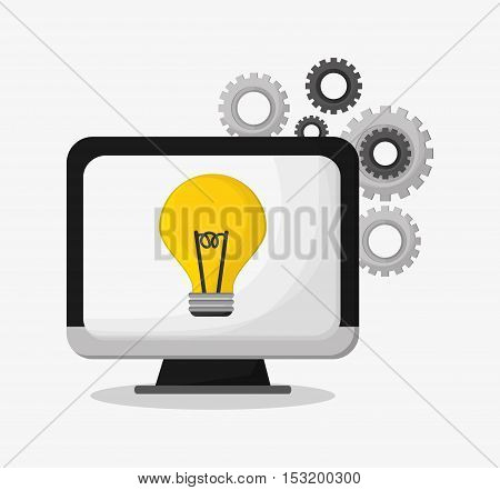 Computer gears and bulb icon. Social media marketing and communication theme. Colorful design. Vector illustration