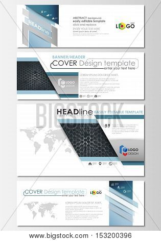 Social media and email headers set, modern banners. Business templates. Cover design template, flat layouts. Chemistry pattern, hexagonal molecule structure. Medicine, science and technology concept.