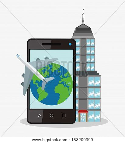 Smartphone planet and airplane icon. Travel trip vacation and tourism theme. Colorful design. Vector illustration