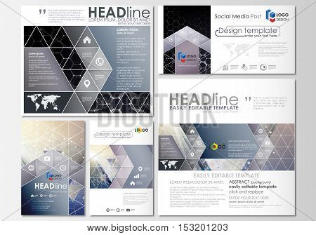 Social media posts set. Business templates. Cover design template, easy editable layouts in popular formats. Chemistry pattern, hexagonal molecule structure. Medicine, science and technology concept