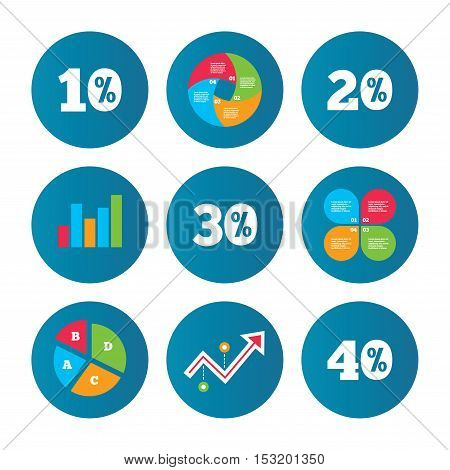 Business pie chart. Growth curve. Presentation buttons. Sale discount icons. Special offer price signs. 10, 20, 30 and 40 percent off reduction symbols. Data analysis. Vector