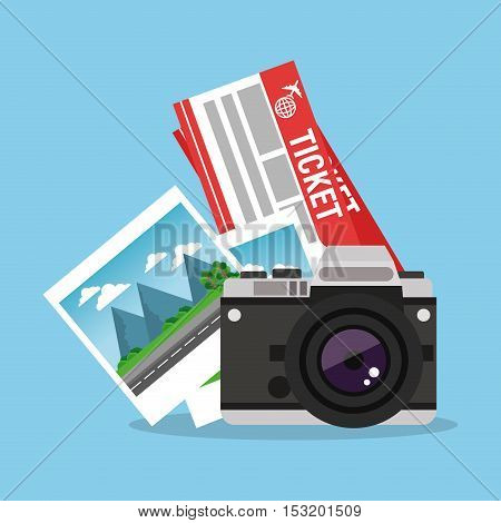Tickets pictures and camera icon. Travel trip vacation and tourism theme. Colorful design. Vector illustration