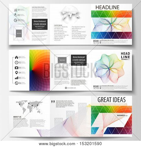 Set of business templates for tri fold square brochures. Leaflet cover, flat layout, easy editable vector. Colorful design background with abstract shapes and waves, overlap effect