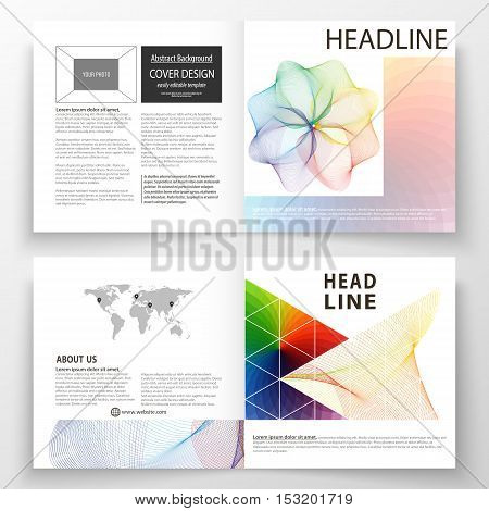 Business templates for square bi fold brochure, magazine, flyer, booklet. Leaflet cover, flat layout, easy editable vector. Colorful design background with abstract shapes and waves, overlap effect